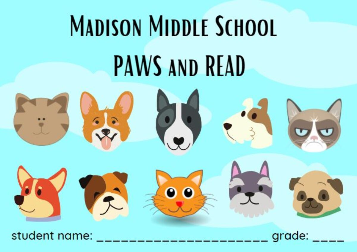 Madison Middle School Paws and Read graphics of dogs and cats